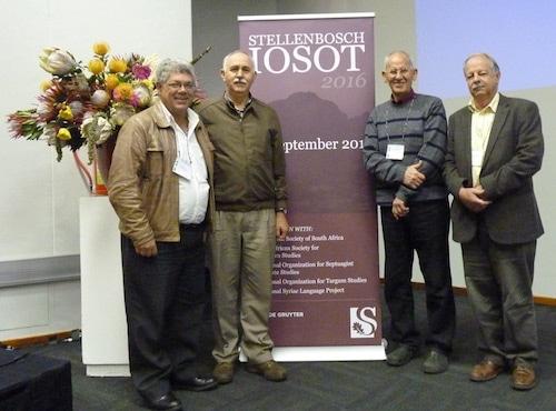 The last four Chairs of the OTSSA, photographed in Stellenbosch at the IOSOT Conference in 2016 / Die mees onlangse vier voorsitters van die OTWSA, afgeneem tydens die 2016 IOSOT-kongres in Stellenbosch.   V.l.nr/F.l.t.r: Willem Boshoff (2016-), Izak Spangenberg (2013-2016), Jurie le Roux (2004-2013), Herrie van Rooy (1997-2004).